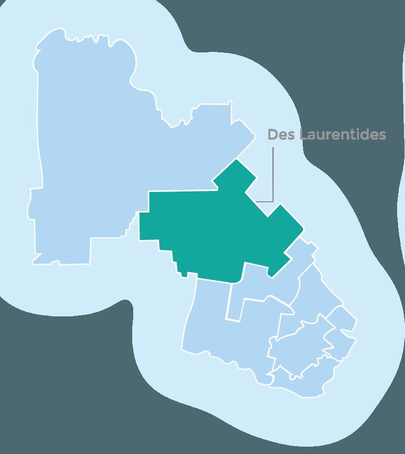 Infographic (map) of Laurentians, highlighting MRC des Laurentides