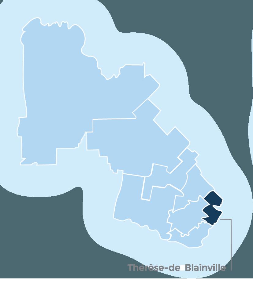 Laurentians map featuring MRC of Thérèse-de Blainville